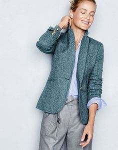 J.Crew women's Campbell blazer in blue herringbone, boy shirt in end-on-end cotton and cropped wide-leg pant.: