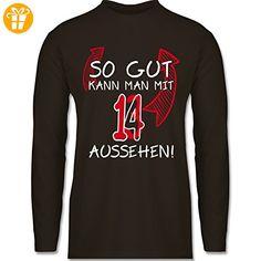 Geburtstag - So gut kann man mit 13 aussehen - XL - Braun - - Longsleeve / langärmeliges  T-Shirt für Herren (*Partner-Link)