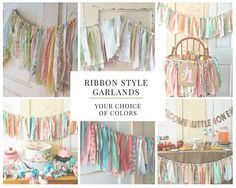 Rag Style Fabric Garland Decor for Bridal Showers and Weddings. Boho Modern Style or CUSTOM color  4-10 Foot Handmade Ribbon Style Banner.