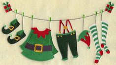 Embroidery On Paper Christmas Elf Clothesline - this is machine embroidery but I think appliqué works better for me. Christmas Bunting, Christmas Sewing, Christmas Embroidery, Felt Christmas, Winter Christmas, Christmas Time, Christmas Decorations, Christmas Ornaments, Christmas Clothes