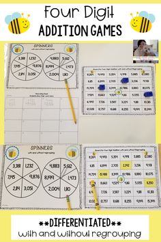 These games are fun, hands-on activities that engage students as they practice adding four digit numbers with and without regrouping. Kindergarten Teachers, Teaching Math, Teaching Ideas, Creative Teaching, Math Games, Math Activities, Math Bingo, Addition Activities, Math Math