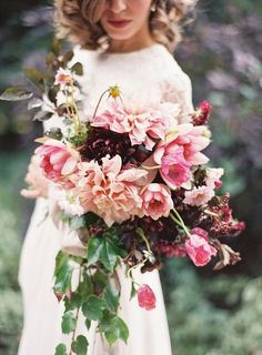 French Chateau Wedding Inspiration and floral bouquet featured on Style Me Pretty Dahlia Wedding Bouquets, Pink Bouquet, Floral Wedding, Fall Wedding, Wedding Flowers, Dream Wedding, Burgundy Bouquet, Bridal Bouquets, Flower Bouquets