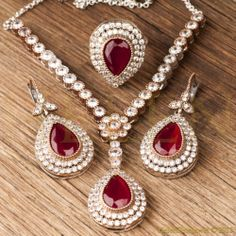 Hurrem Sultan Set with Necklace Tear Drop Ruby Color Ottoman Jewelry 925 SS