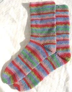 Crochet Pattern for SOCKS Colourful 4ply PDF by thetreebridge