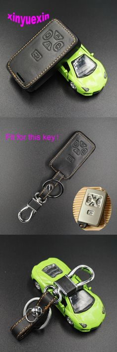 Xinyuexin Leather Car Key Cover Fob Case For Toyota Corolla Yaris Camry Hilux Vitz Rav4 Aqua Smart Key Jacket Bag With Keychain