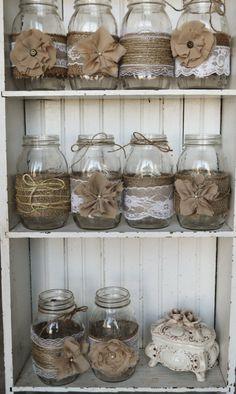 Set of 10 Mason Jar Sleeves Burlap Wedding by RusticWithElegance