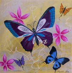 """Tableau, technique mixte, """"Les Papillons"""" : Peintures par kikry-art"""