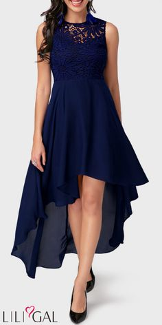 Blue dresses: fashionable highlights that inspire High Low Lace Panel Navy Blue Chiffon Dress Long Fall Dresses, Tight Dresses, Day Dresses, Dresses Online, Evening Dresses, Casual Dresses, Prom Dresses, Midi Dresses, Occasion Dresses