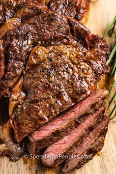 Ribeye Steak is easy to make, and only uses 4 ingredients! In 20 minutes, this delicious entree is ready to eat! #spendwithpennies #ribeyesteak #recipe #roasted #grilled Ribeye Steak In Oven, Grilled Ribeye Steak Recipes, How To Cook Ribeye, Cooking Recipes For Dinner, Cooking On The Grill, Frozen Steak, Beef Recipes, Grilling Recipes, Healthy Recipes