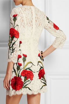 Dolce & Gabbana|Mini-robe en dentelle brodée|NET-A-PORTER.COM