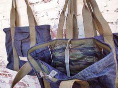 Shell: Assorted New Old Stock indigo selvedge raw denim, Oz. Lining: NOS cotton selvedge twill, camo print, 'tiger stripe' style Raw Denim, Denim Bag, Garbage In The Ocean, Indigo Colour, Camo Print, Vintage Books, How To Take Photos, Vintage Outfits, Type