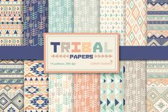 14 Tribal aztec Digital Papers Pack. by CLIPART GARDEN on Creative Market