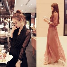Discount China china wholesale Grace Black Bean Chiffon Red V Collar Long Sleeve Twinset Long Drape Skirt Dress [31366] - US$20.99 : Bluelans