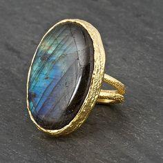 Labradorite Gold Ring  Labradorite Ring  Gold Band by mlarajewelry, $140.00
