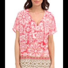 Tommy Bahama Bellefield Batik Top Tommy Bahama Bellefield Batik Top, color-Paradise Pink, multiple sizes. Great for summer! Tommy Bahama Tops