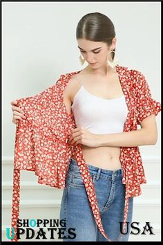 Women's Sweet Cherry Fruit Crossover V Neck Ruffle Wrap Blouse Top. Stylish Tops For Women, Wrap Blouse, Wrap Shirt, V Neck Blouse, Blouse Dress, Ruffle Blouse, Sleeves Designs For Dresses, Dress Sewing Patterns, Girls Dresses Sewing