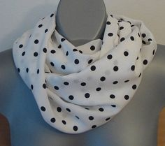 ON SALE White and black polka dot infinity scarf, Soft Egyptian cotton, Loop neck scarf, Women fashion, Geometric summer circle scarf, uniqu - €19.38 EUR