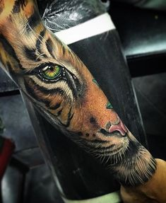 Images of fierce animal tattoo - Realistic Tiger Tattoo, Tiger Eyes Tattoo, Tiger Tattoo Sleeve, Tiger Tattoo Design, Sleeve Tattoos, Wolf Tattoos, Animal Tattoos, Leg Tattoos, Arm Tattoo