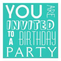 Fiesta de cumpleaños adolescente de la tipografía  invitacion personalizada