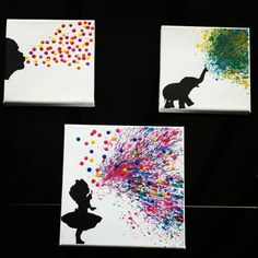 Melted Crayon Art Girl Blowing Bubbles by TreatYourselfCrafty