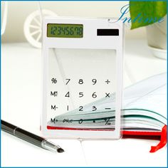 Novo Mini Calculadora transparente multi color 8 dígitos LCD Contador Calculadora Solar Touch Screen Calculando ferramenta como presente em ...