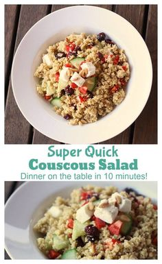 Super-Quick Couscous Salad Recipe - a great recipe for when you don't have the energy to cook. Have dinner on the table in 10 minutes - Cook Clean Craft