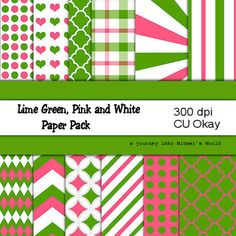 Digital Paper Pink, Green and White Digital Papers for your Digital Scrapbook Paper Pack Stash