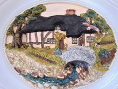 Thatched Cottage Plaster 3-D Wall Plaque Unsigned Hand Crafted Decorative Vintage Ceramic Home Decor Interiors by BelieveToBeBeautiful on Etsy
