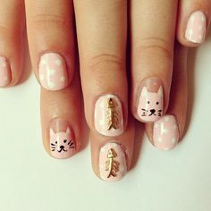 31 Amazing Emoji Nail Designs to Inspire YouWe all express ourselves and have fun nails. what're the simplest thanks to killing 2 birds with one stone of some artistic nail art? Emoji Nails, Cat Nails, Cat Nail Designs, Nail Polish Designs, Cat Nail Art, Hello Kitty Nails, Nail Charms, Different Nail Designs, Pastel Nails
