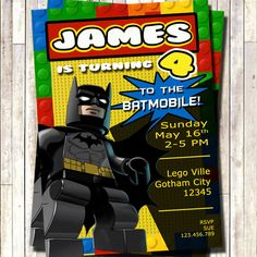 Lego Batman Invitation, Lego Superhero Invitation, Batman Invites, superheroes invitation, superheroes party, batman party by 3lileagles on Etsy