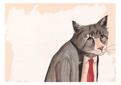 Working 9 till Meow A3 Print by jimbobart on Etsy