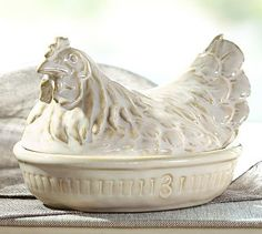 Three French Hens Butter Dish