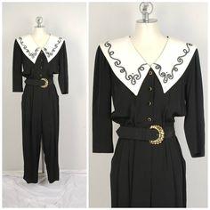 317cb8a610d3 black 80s power jumpsuit with white sailor collar size 12 14 onesie flight  suit matching belt