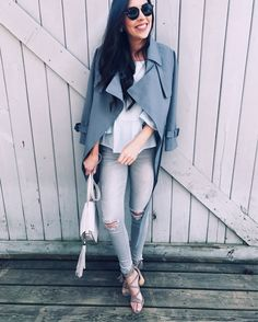 grey denim, teal trench coat, casual style
