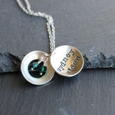 Peek-a-Boo Locket, Hand Stamped Mother's Necklace. $45.00, via Etsy.