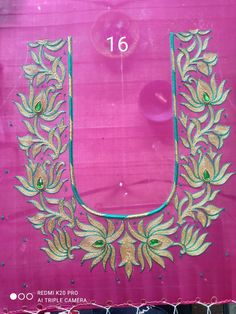 Saree Blouse Designs, Blouse Styles, Lotus Flower Design, Aari Embroidery, Work Blouse, Gold Necklace, Tapestry, Simple, Flowers