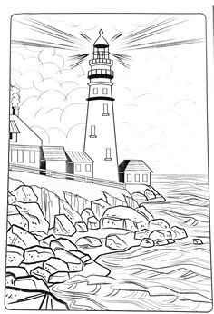 Printable Lighthouse Art Coloring Pages. Every August 7 is celebrated as the world lighthouse day. A lighthouse is a building specifically designed to emit light and functions as a navigation. Beach Coloring Pages, Coloring Book Art, Printable Adult Coloring Pages, Coloring Pages To Print, Free Coloring Pages, Coloring Sheets, Colouring Pages For Adults, Colorful Drawings, Easy Drawings