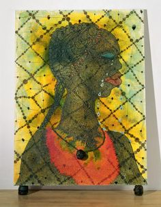Chris Ofili, No Woman, No Cry, 1998, oil paint, acrylic paint, graphite, polyester resin, printed paper, glitter, map pins and elephant dung on canvas, 243 x 182 cm (Tate)