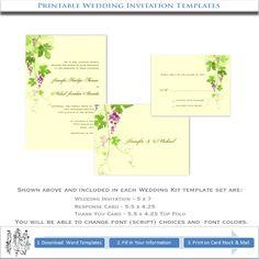 Vineyard Wedding Invitations | Printable Stationery Template Kits