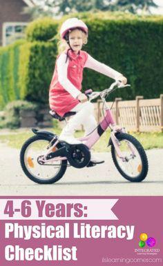 Physical literacy checklist: 4-6 years | ilslearningcorner.com