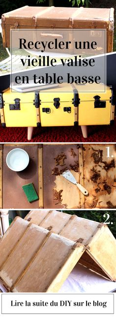 DIY recycling an old suitcase in coffee table - Before After Furniture, Old Suitcases, Deco Originale, Vintage Luggage, Tropical Style, Diy Recycle, Simple Bags, Upcycled Furniture, Diy Kits