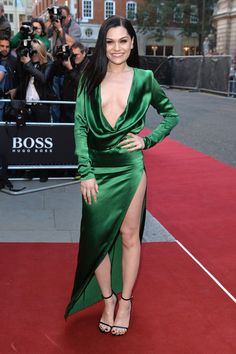 Jessie J Evening Sandals - Jessie J kept the focus on her sexy dress by wearing simple black ankle-strap sandals by Saint Laurent.