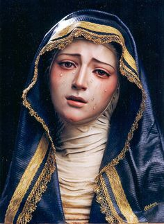I really like how this shows real grief on her face. Our Lady of Sorrows. Blessed Mother Mary, Blessed Virgin Mary, Religious Icons, Religious Art, Immaculée Conception, La Salette, Our Lady Of Sorrows, Queen Of Heaven, Mama Mary