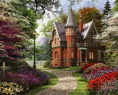 Fairytale Cottage, Cottage Art, Cottage Homes, Cottage Gardens, Victorian Cottage, Victorian Homes, Victorian Era, Thomas Kinkade, Cottage In The Woods