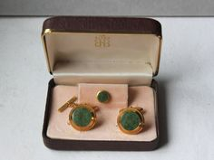 1960s genuine serpentine cufflinks and button tie in a by Oselavy