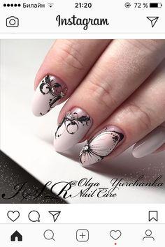 Cute Acrylic Nails, 3d Nails, Love Nails, Butterfly Nail, New Nail Art, Almond Nails, Perfect Nails, Nail Trends, Summer Nails