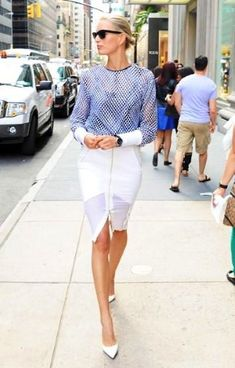 Karolina Kurkova The sheer panels on Kurkova's Dion Lee zipper-front pencil skirt from Resort 14 lend her Dion Lee top from F/W 13 and crisp white Manolo Blahnik BB heels a sporty vibe. Style Work, Look Street Style, Street Chic, My Style, Office Style, Style Hair, Passion For Fashion, Love Fashion, High Fashion
