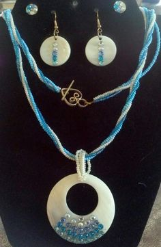 A set of two earings and a power shell necklace with beautiful blue Swarovski crystal flat backs Jewelry Sets, Jewelry Making, Shell Necklaces, Reign, Washer Necklace, Swarovski Crystals, Handmade Jewelry, Jewels, Earrings