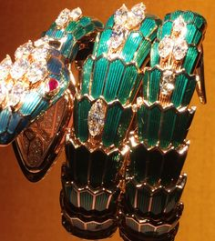 Bulgari vintage Serpenti enamel, gold and diamond watch.