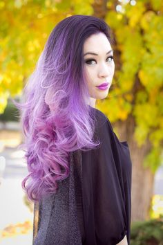 ℒᎧᏤᏋ~ℒᎧᏤᏋ her black to purple ombré hair!!!! ღ❤ღ